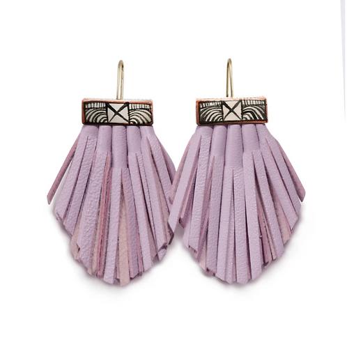 lilac tassel cage earrings