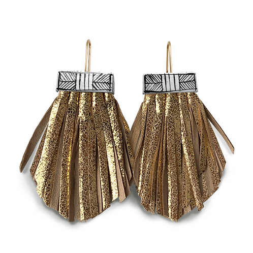 tassel cage earrings in gold