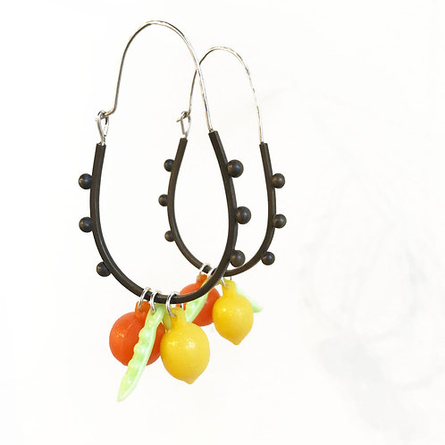 Fruity Dangler earrings in black patina