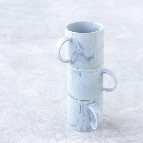hand thrown slate blue mug