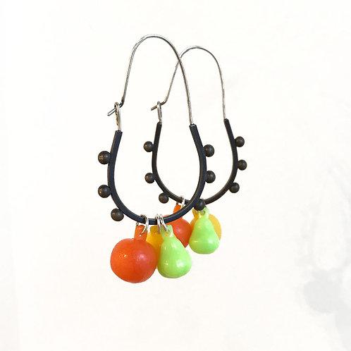 green pear fruity dangler earrings