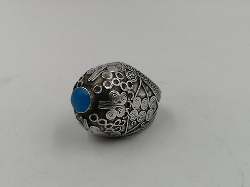 Afghan silver turquoise wedding ring