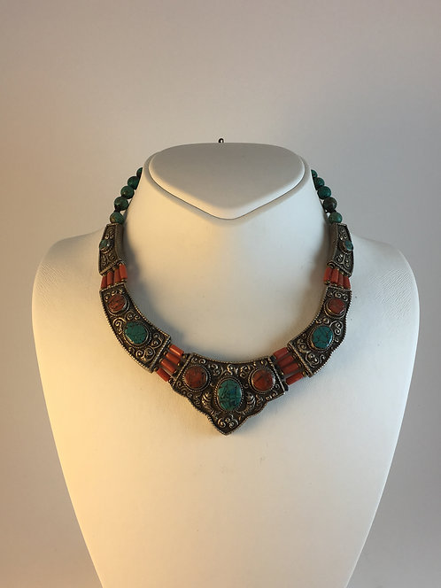 Tibetan Nepalese Turquoise Silver Necklace
