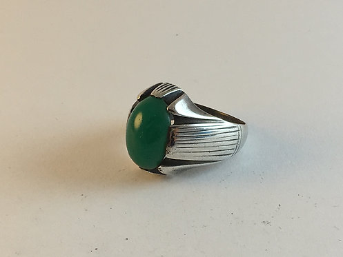 Iranian Hand Made Green Agate Old Silver Ring