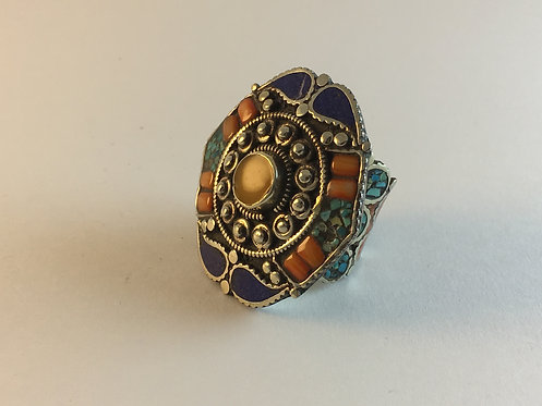 Tibetan Mosaic Alpaka Silver Ring with Turquoise Lapis and Coral