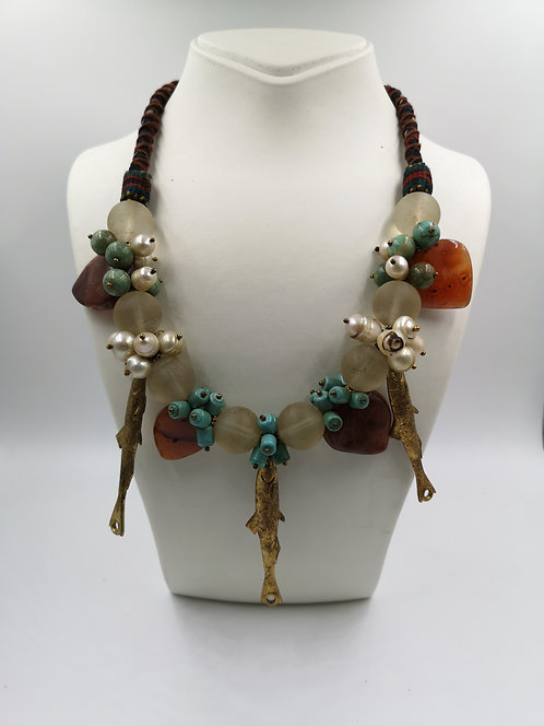 Dokhra art Necklace with fish