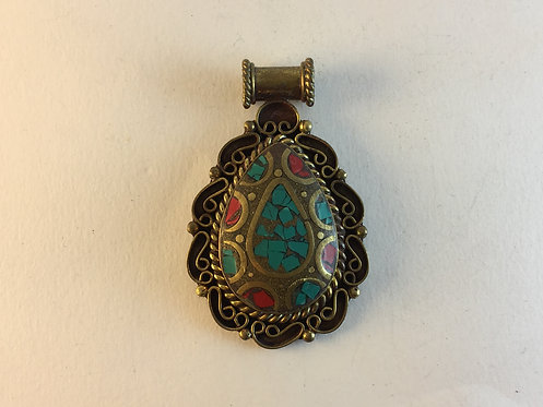 Brass White Metal Turquoise Pendant