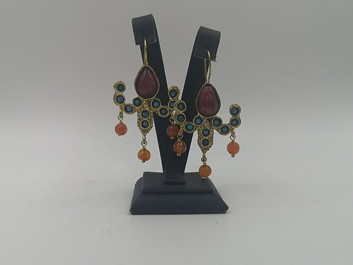 Agate turquoise Ruby gold plated Bronze Earrings
