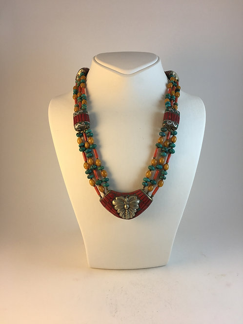 Nepalese Turquoise Coral Amber Necklace