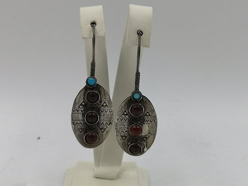 Agate turquoise 3 stone earrings