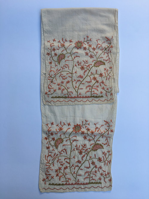 Hand Embroidered Antique Ottoman Cotton Long Peshkir Towel