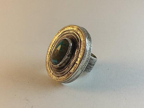 Turcoman Kazakh Meshed Turquoise Silver Ring