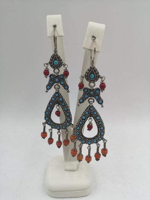 Uzbek silver Turquoise Coral Earrings