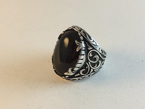 Afghan Black Agate Silver Ring