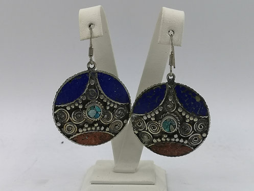 Turquoise Coral Lapis Alpaka silver Nepalese earrings