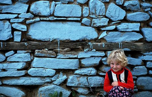 Blue Wall Blonde Girl