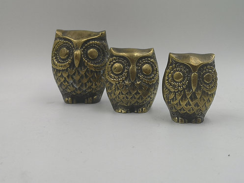 3 piece set brass owls