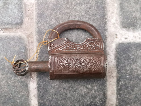 Afghan engraved padlock