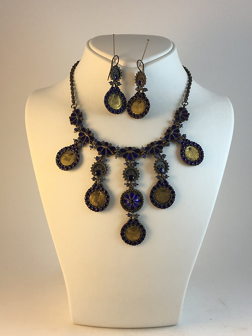 Ottoman Harem Jewelry 22K Gold Coin Enamel Necklace set