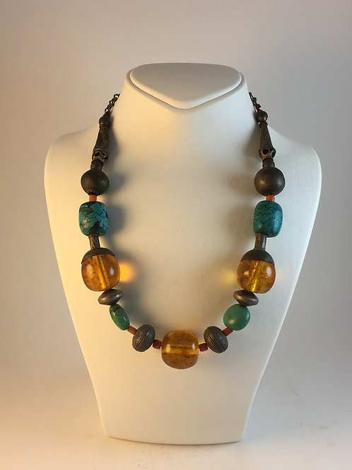 Amber Turquoise Coral Silver Necklace