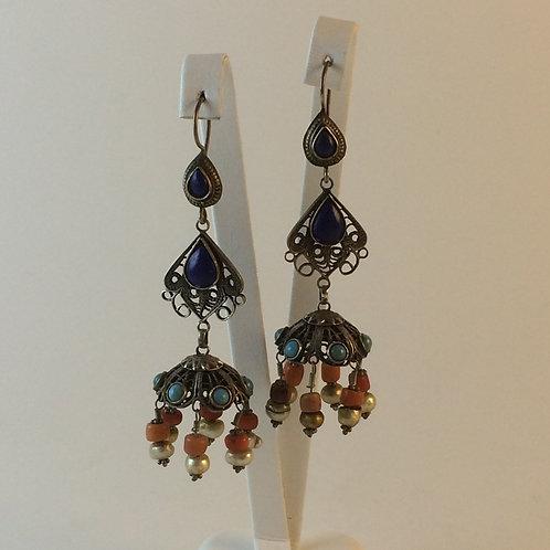 Uzbek 925k Silver Turquoise Coral Lapis Pearl Earring set