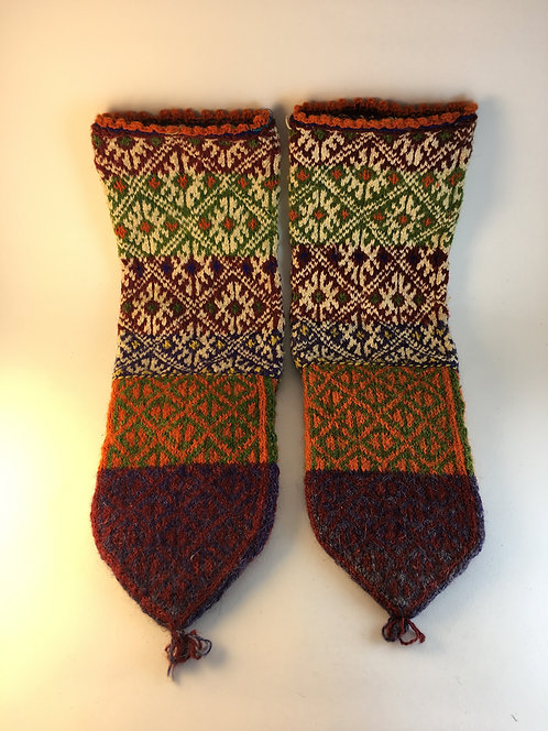 Hand Knitted Old Turkish Wool Village Socks