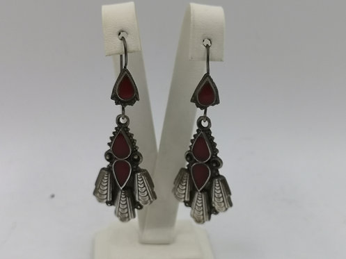 Silver agate Afghan earrings