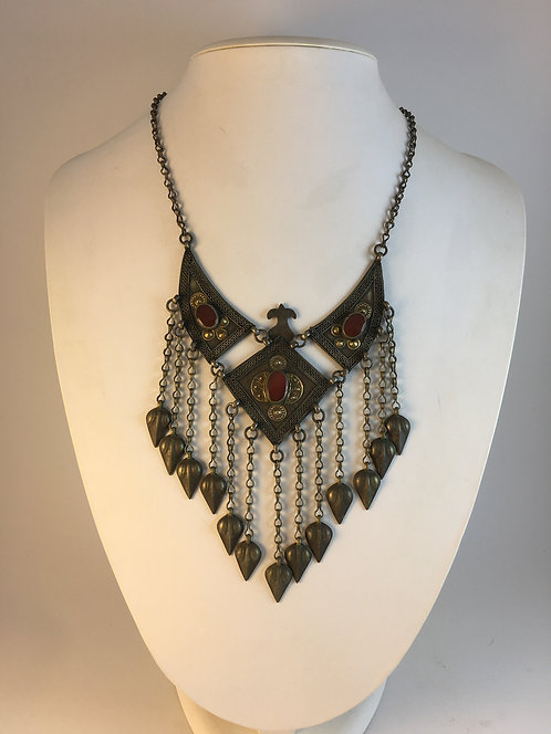 Turcoman Yomuth Tribal Silver Gold Necklace