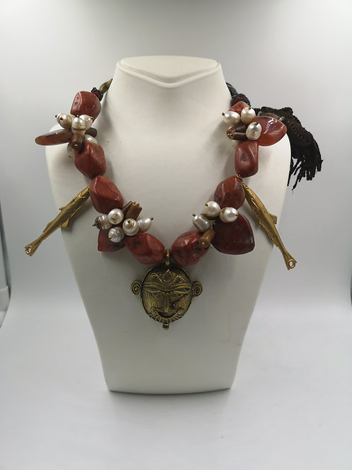 Dokhra Art coral brass Bengal necklace
