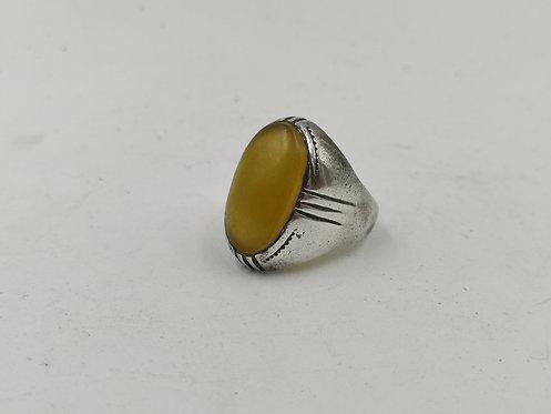Honey agate ottoman silver ring