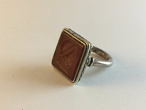 Afghan Signet Ring With Roman Agate Carved Stone