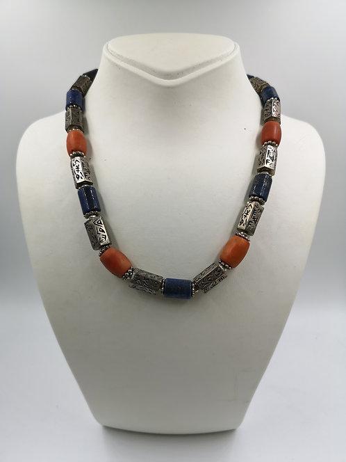 Coral, Lapis, Alpaka silver Necklace