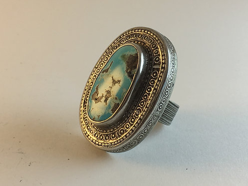 Afghan Kazakh Silver Ring with Meshed Turquoise