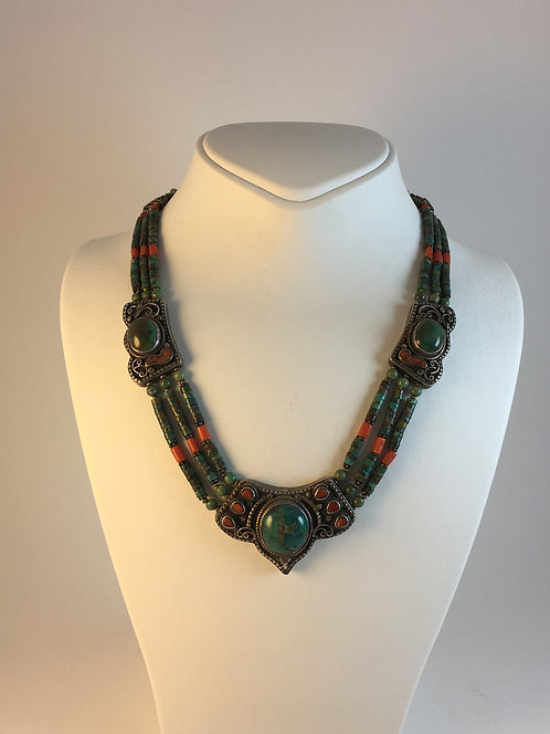 Tibetan Turquoise Coral Silver Necklace