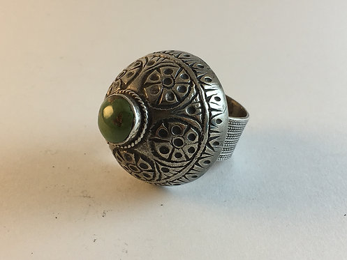Afghan Silver Ring with Green Turquoise