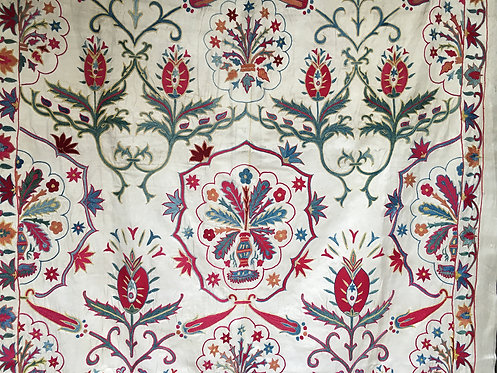 Nurata Silk Hand Embroidered Fine Crochet Work Suzani