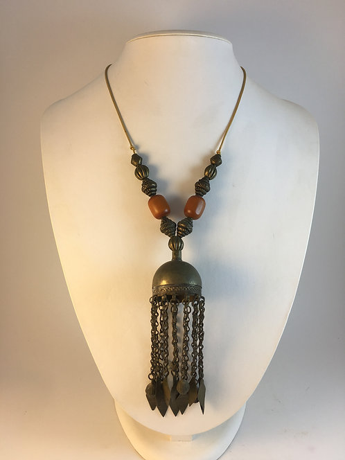 Indian Old Silver Amber Necklace
