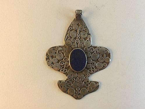 Afghan Lapis Silver Pendant