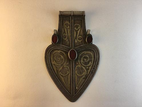 Antique Silver Turcoman Giant Heart Wedding Pendant