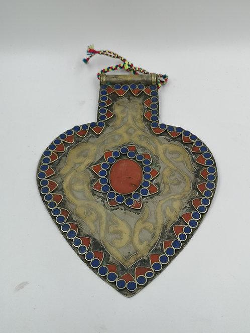 Afghan turcoman Alpaka heart large pendant