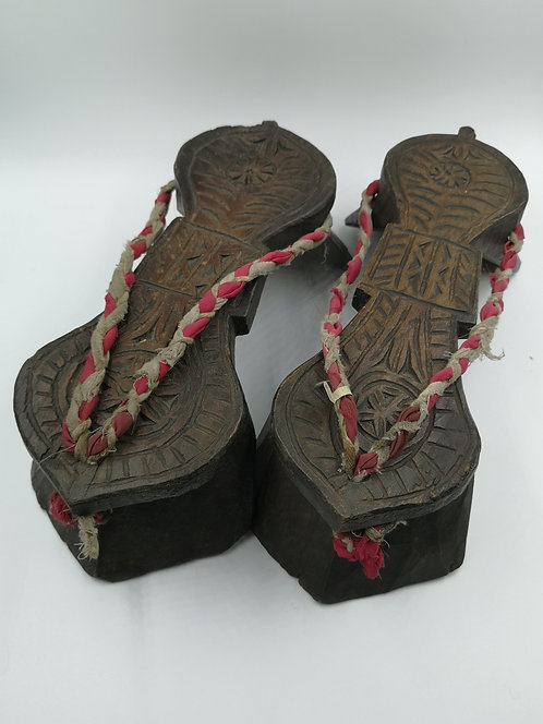 Turcoman Afghan wooden clogs 19th C
