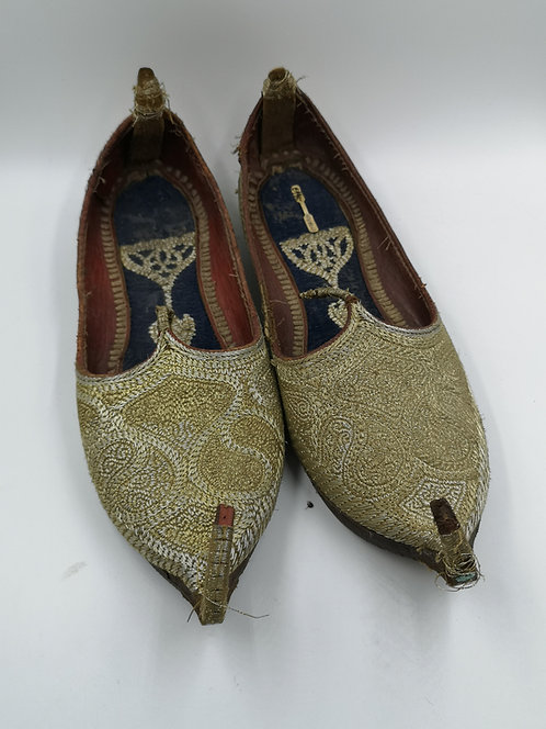 Afghan leather shoes with silver embroidery