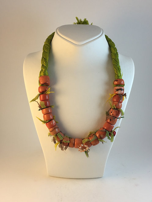 Coral Silk Necklace