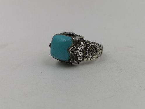 Afghan amazonite silver ring