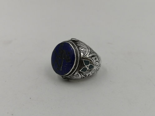 Afghan lapis Lazuli deer carved silver ring
