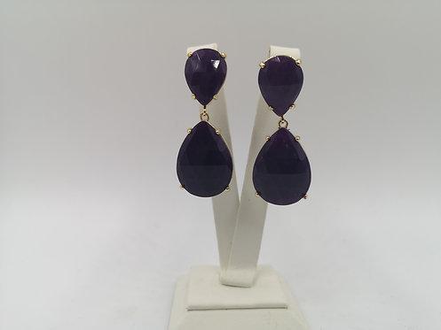 Gold plated Bronze Earrings purple