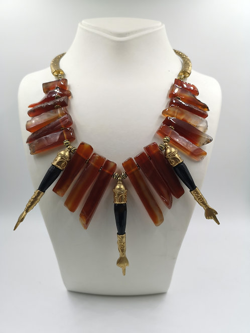 Agate & Yad gold plated Necklace