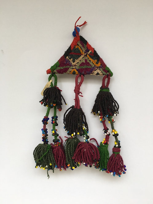 "Afghan Embroidered Suzani ""Duacık"" Amulet Old Wall Hanging"