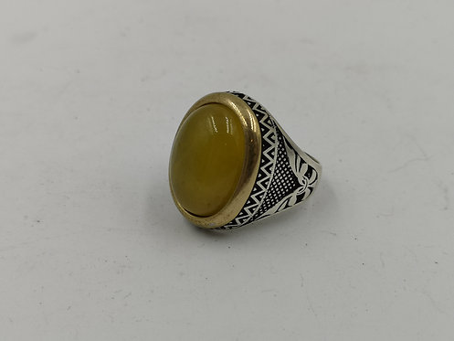 Ottoman yellow agate silver ring