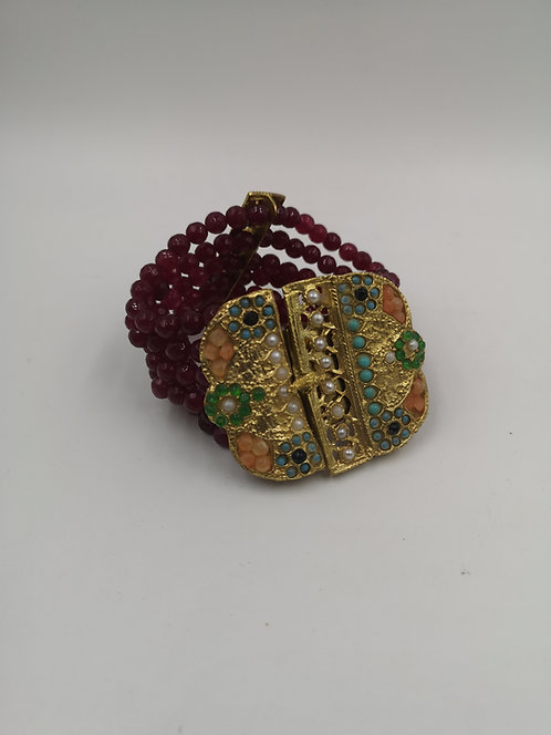 Ottoman harem Gold plated Bronze bracelet Ruby